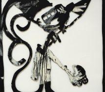 Tegning, Lucky Luke med barnevogn, 1983